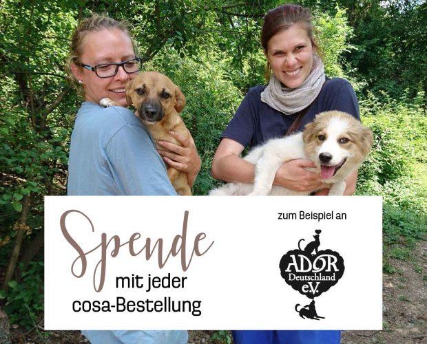 Spende mit jeder Bestellung bei cosa Kosmetik an eine Tierschutzorganisation deiner Wahl –zum Beispiel Ador Deutschland.