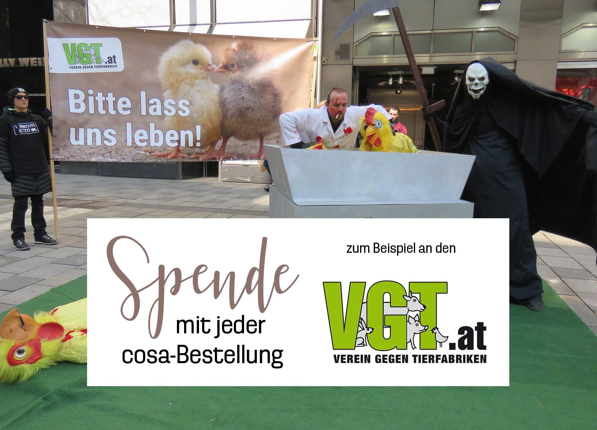 Spende mit jeder cosa Bestellung an den VGT Austria.