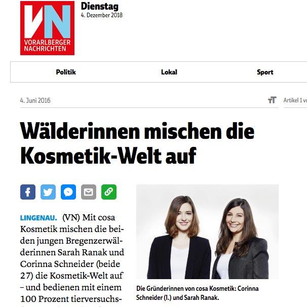 Die Vorarlberger Nachrichten berichten über cosa Kosmetik.