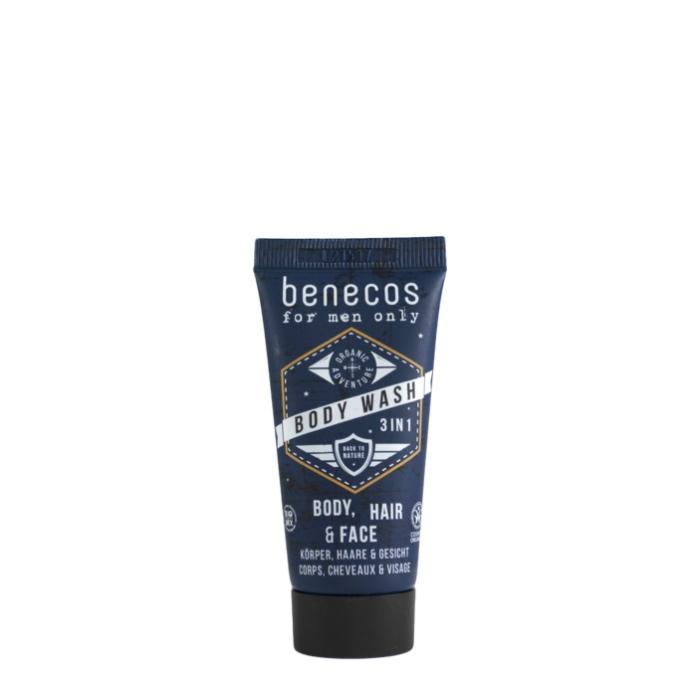 3 in 1 Bodywash für Körper, Haare und Gesicht in Reisegröße von Benecos