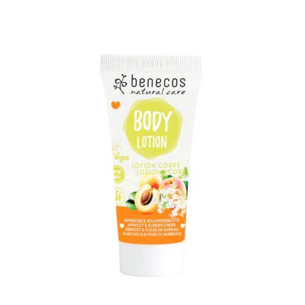 Die Mini-Naturkosmetik-Bodylotion mit Aprikose und Holunderblüte von Benecos
