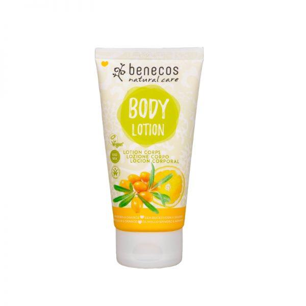 Die schnell-einziehende Körperlotion mit Sanddorn- und Orangen-Duft von Benecos