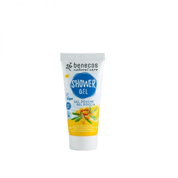 Das fruchtige Mini-Duschgel mit Sanddorn- und Orangen-Duft von Benecos