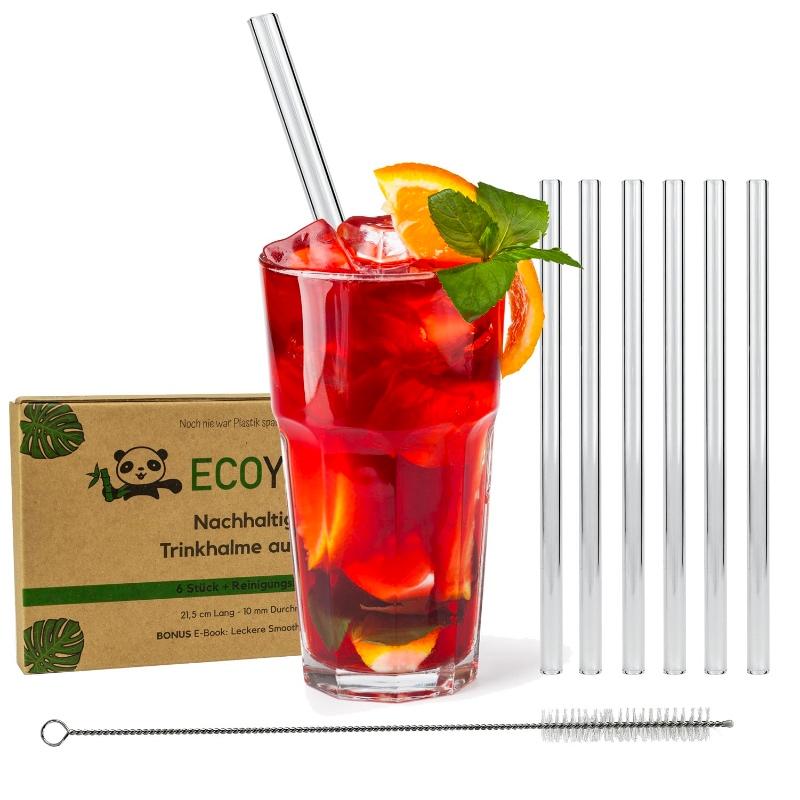 6 Glas-Trinkhalme inkl. Reinigungsbürste für Heiß- und Kaltgetränke