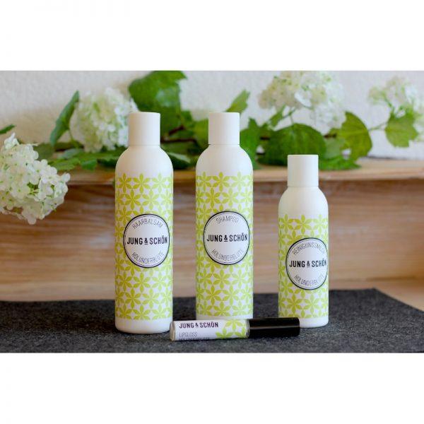 Das Holunderblüte-Pflegeset mit Duschgel, Shampoo, Reinigungsmilch und Lipgloss von Jung & Schön