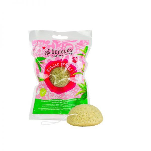 Der vegane Konjac Sponge mit grünem Tee-Extrakt für Mischhaut von Benecos