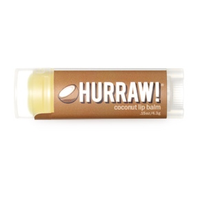 Natürliche Lippenpflege von Hurraw mit Koksnuss-Duft.