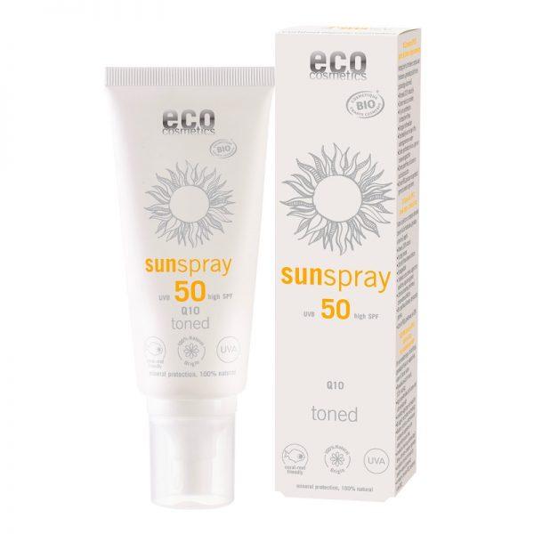 Das getönte Sonnenschutzspray mit LSF 50 und Q10 von eco cosmetics