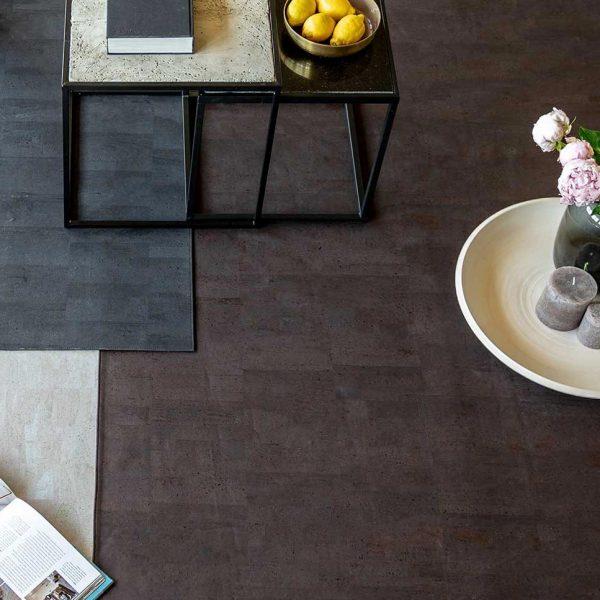 Teppich aus dem schönen Naturmaterial Kork in Anthrazit