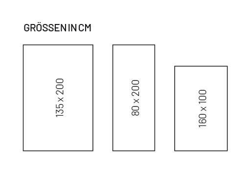 Der Korkteppich ist in 2 Farben in jeweils 3 verschiedenen Größen erhältlich.