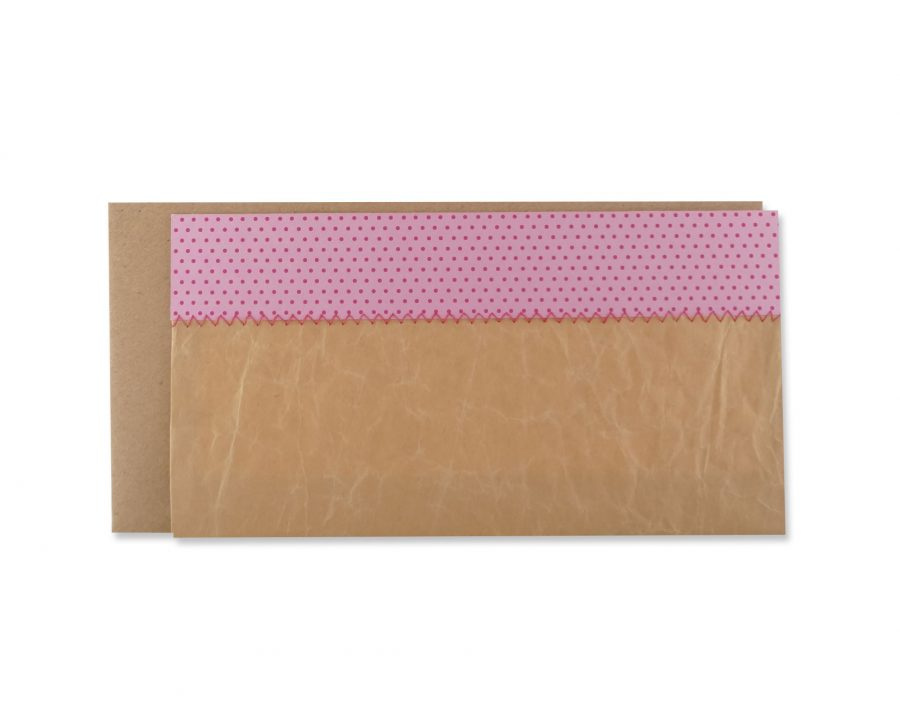 Handgemachte, genähte Karte zur Geburt in Pink-Rosa.
