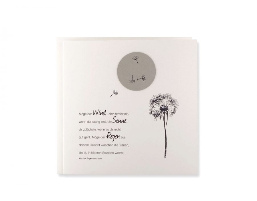 Trauerkarte mit Stempeldruck und irischem Segenswunsch.