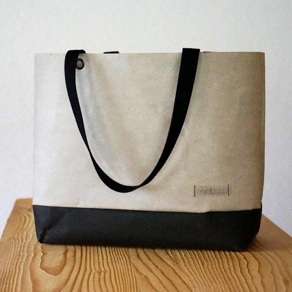 Großer Shopper in Grau aus veganem Leder