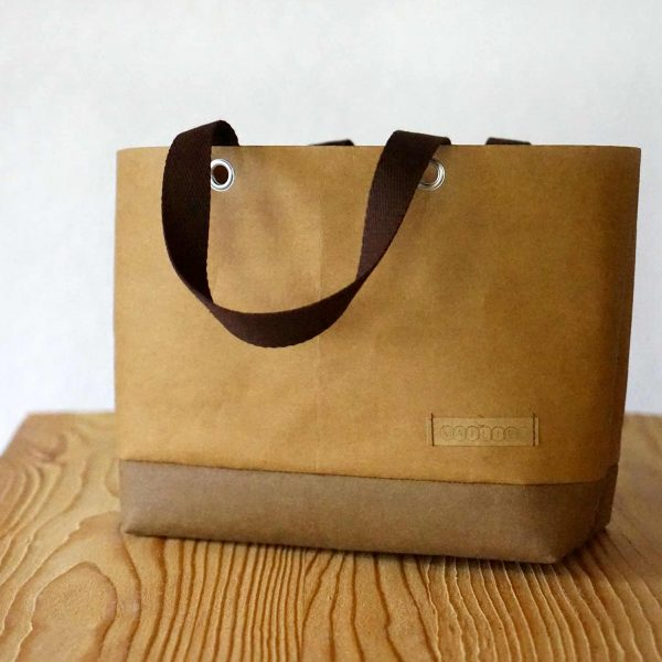 Kleiner Shopper in Braun aus veganem Leder