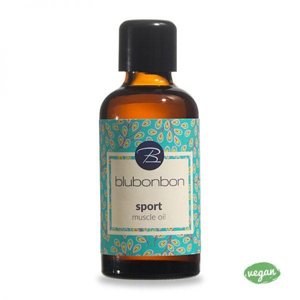 Das Sport Muscle Oil von Blubonbon entspannt deine Muskeln nach dem Sport.