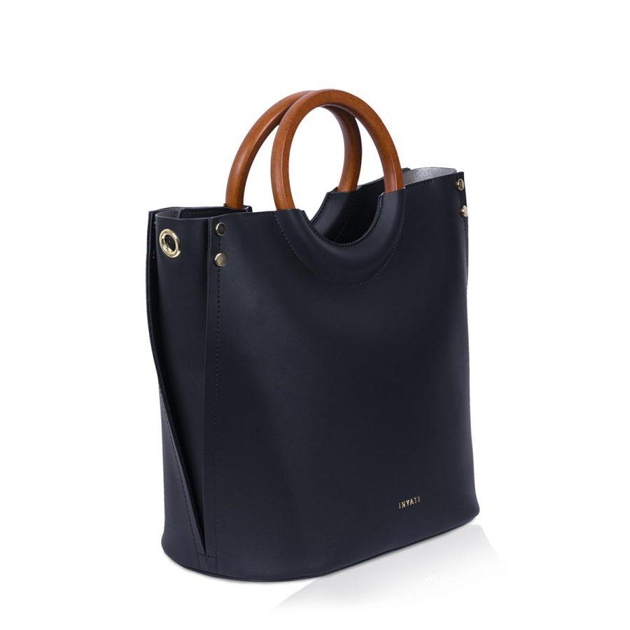 Vegane Handtasche Viviana in Schwarz - Seitenansicht
