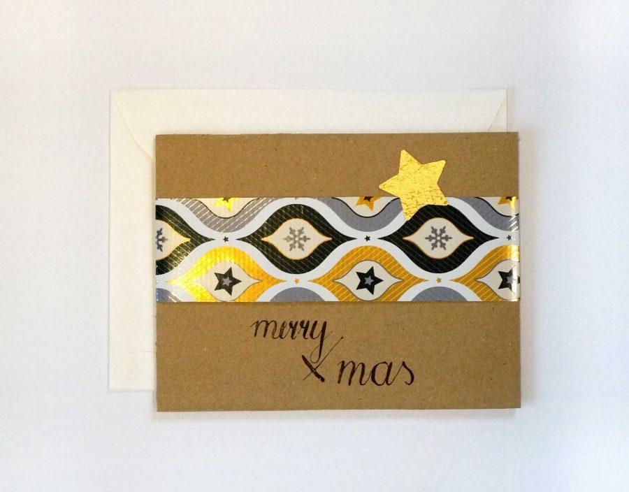 """Karte """"Merry X-Mas""""."""