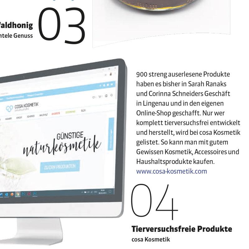 cosa Kosmetik in der Thema Vorarlberg im November 2019