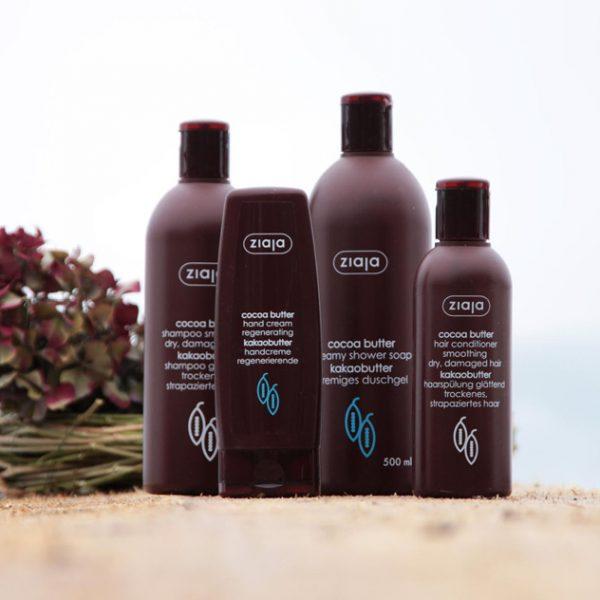 Das Kakaobutter-Pflegeset mit Duschcreme, Shampoo, Spülung und Handcreme von Ziaja