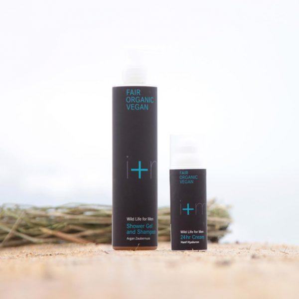 Set mit Duschbad & Shampoo und Gesichtscreme von i+m