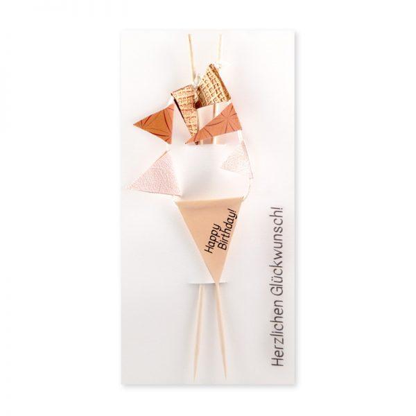 Wimpel zum Geburtstag für Geschenksverpackung oder als Caketopping mit der Aufschrift Happy Birthday