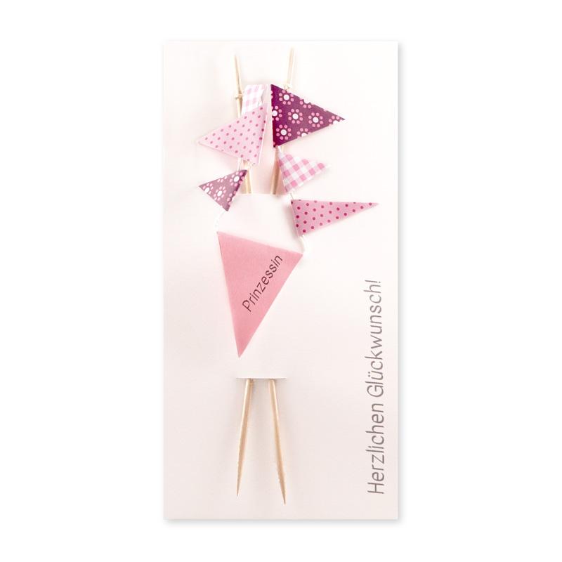 Wimpel zur Geburt oder zum Geburtstag für Geschenksverpackung oder als Caketopping für ein Mädchen mit der Aufschrift Prinzessin