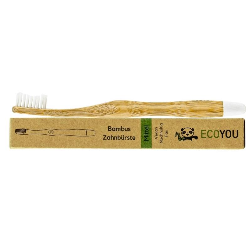 Vegane Zahnbürste aus Bambus mit BPA-freien Borsten von EcoYou