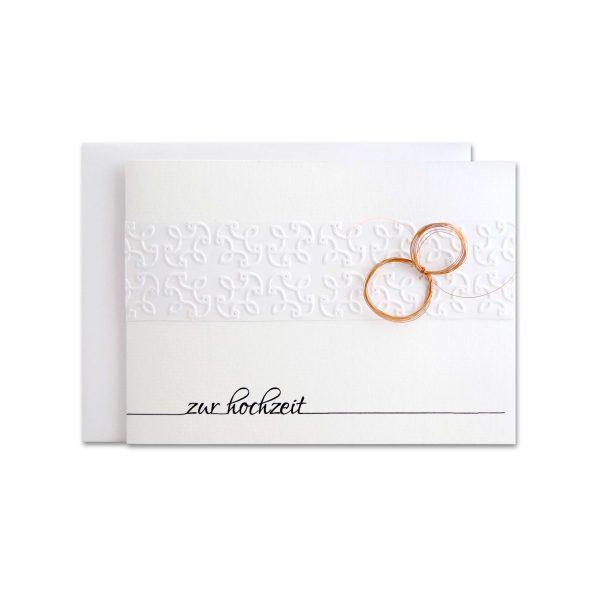 Handgemachte Karte zur Hochzeit, geprägt mit Ringen aus Kupferdraht
