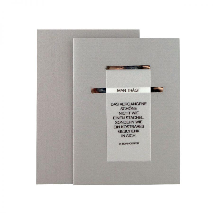 Handgemachte Trauerkarte mit Druck auf Transparentpapier bei cosa Kosmetik ohne Tierversuche