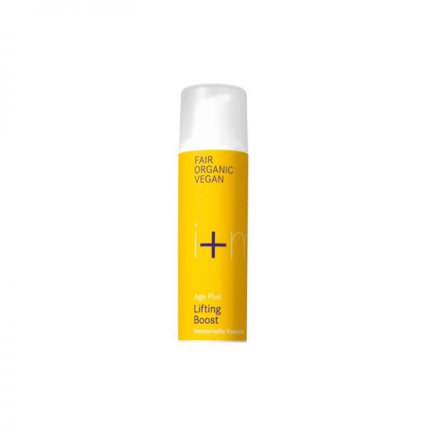 Das Age Plus Lifting Boost für reife und trockene Haut mit Immortelle und Hyaluron von i+m