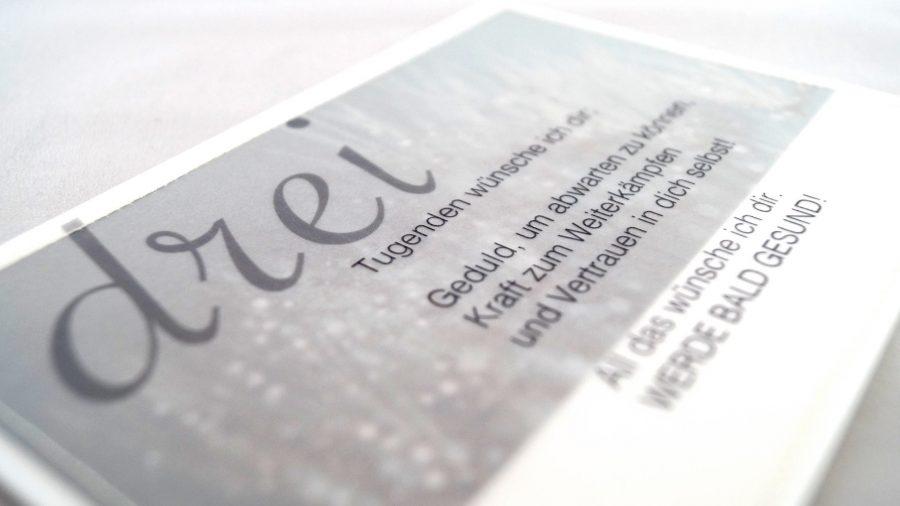 Handgemachte, genähte Grusskarte zur Genesung bei cosa Kosmetik