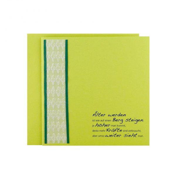 Handgemachte, geprägte Geburtstagskarte in Grün bei cosa Kosmetik