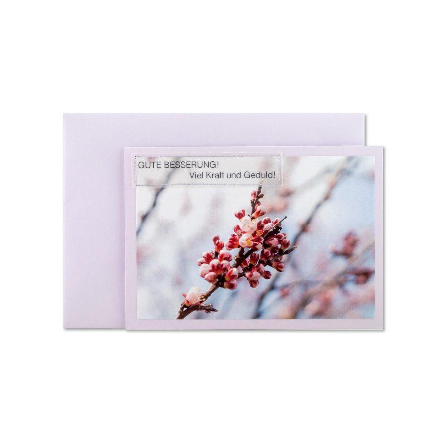 Gute Besserung! Handgemachte Genesungskarte in Flieder bei cosa Kosmetik