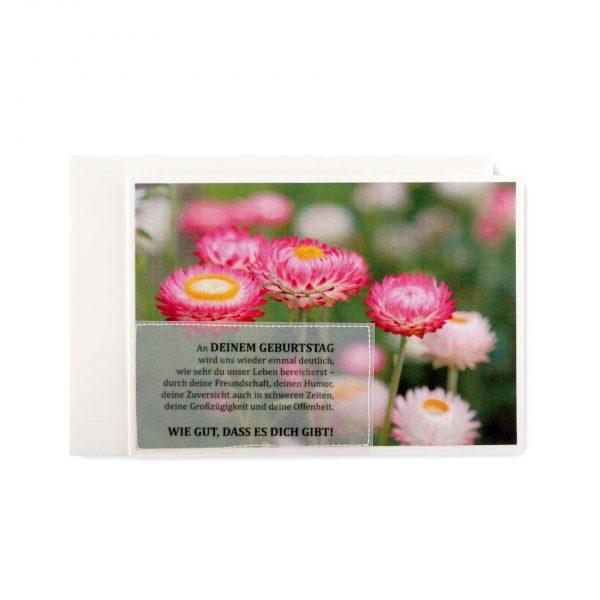 Handgemachte, genähte Karte mit Blumendruck. zum Geburtstag bei cosa Kosmetik