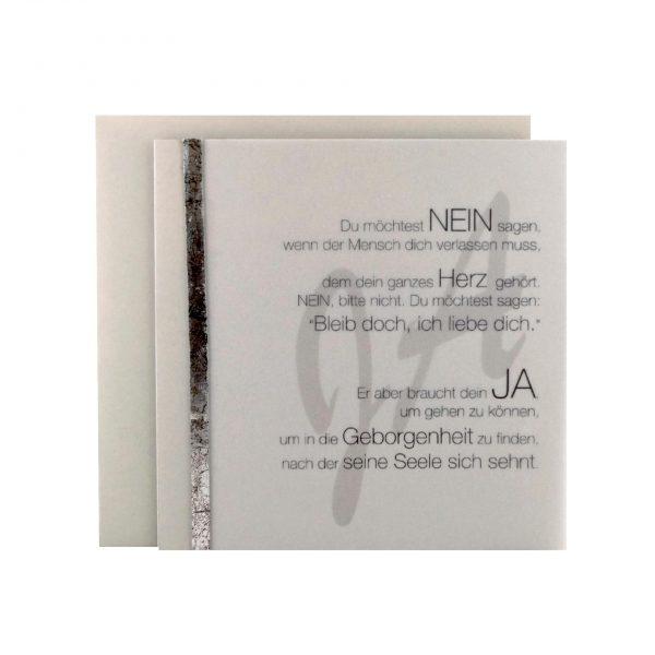 """Handgemachte Trauerkarte """"Geborgenheit finden"""" bei cosa Kosmetik"""