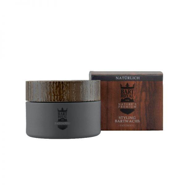 """Das Bartwachs """"Patchouli"""" aus 100 % natürlichen Inhaltsstoffen mit Patchouli- und Zimtduft für das tägliche Bartstyling von Bart Royal"""