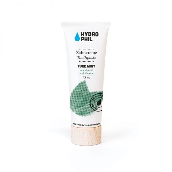 Zahnpasta mit Fluorid und Pfefferminzgeschmack von Hydrophil im cosa Kosmetik Onlineshop
