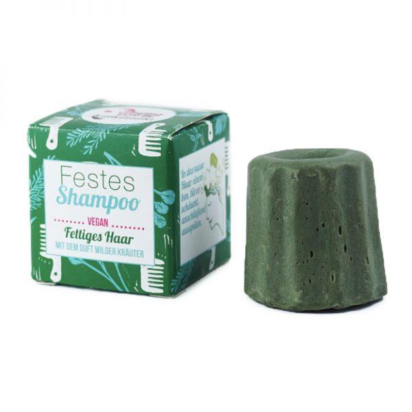 Das feste Shampoo von Lamazuna mit dem Duft von wilden Kräutern enthält keine ätherischen Öle und ist somit für Schwangere und Kinder geeignet