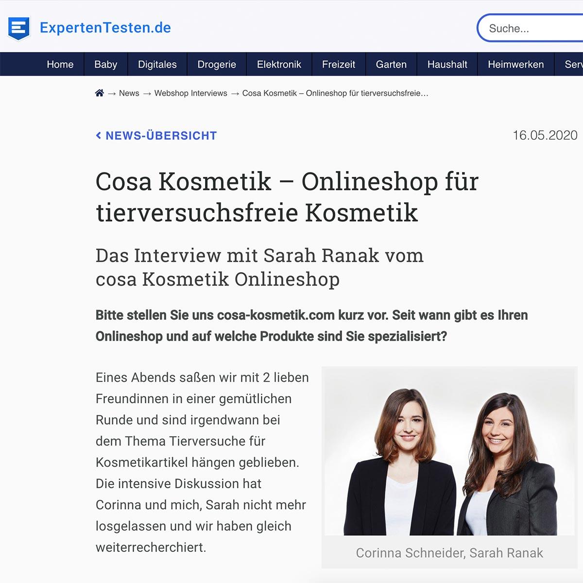 cosa Kosmetik im Interview mit ExpertenTesten.de