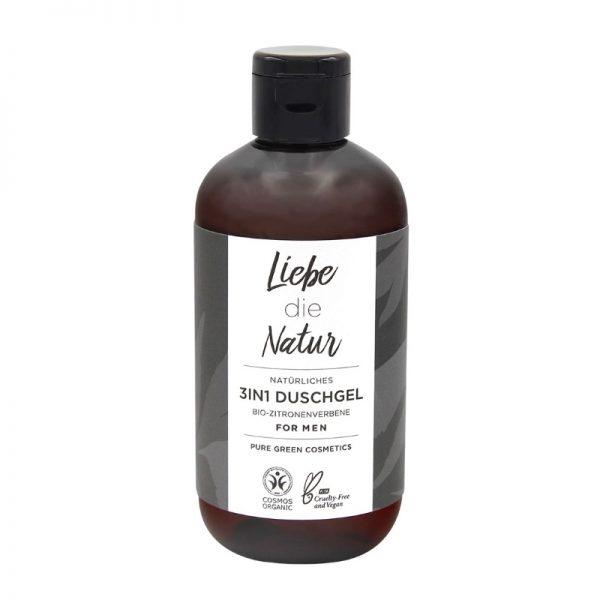Das vegane 3 in 1 Duschgel, Shampoo und Gesichtsreinigung für Männer von Liebe die Natur im cosa Kosmetik Onlineshop