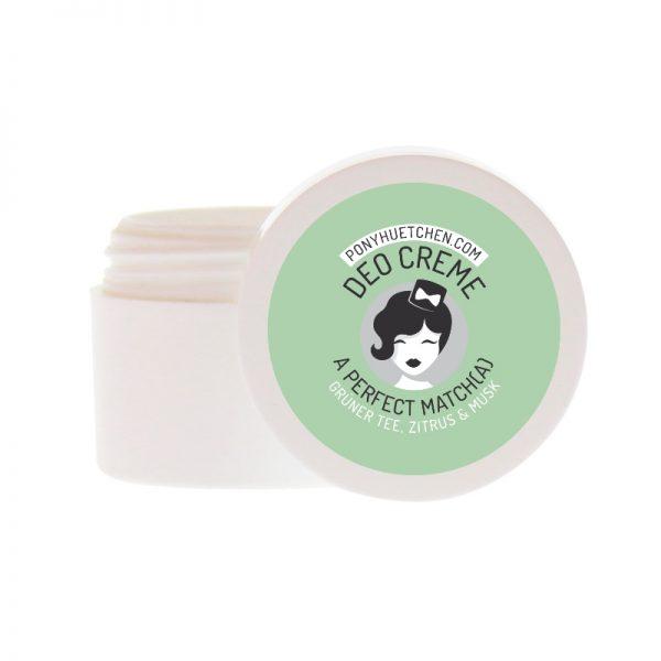 """Probiergröße der Deocreme """"A perfect Match(a)"""" mit dem Duft von grünem Tee und Zitrone von Ponyhütchen"""