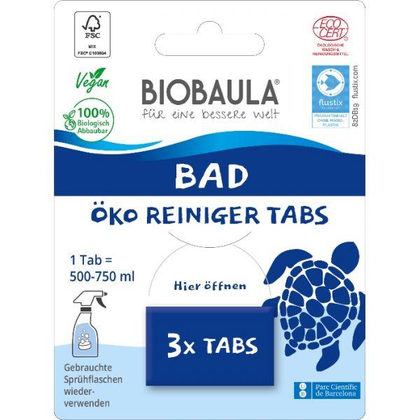 Der biologisch abbaubare Badreiniger von BioBaula in der plastikfreien Verpackung im cosa Kosmetik Onlineshop