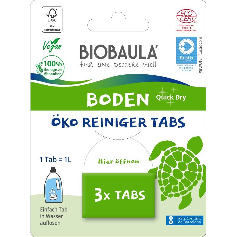 Der biologisch abbaubare Bodenreiniger von Biobaula in der plastikfreien Verpackung