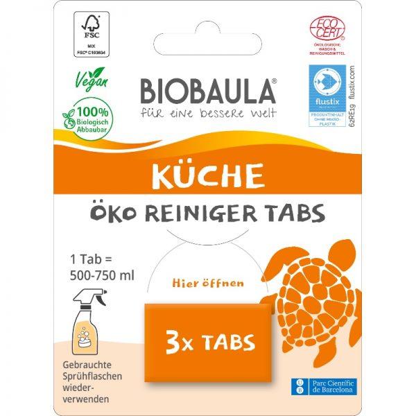 Der biologisch abbaubare Küchenreiniger von Biobaula in der plastikfreien Verpackung im cosa Kosmetik Onlineshop