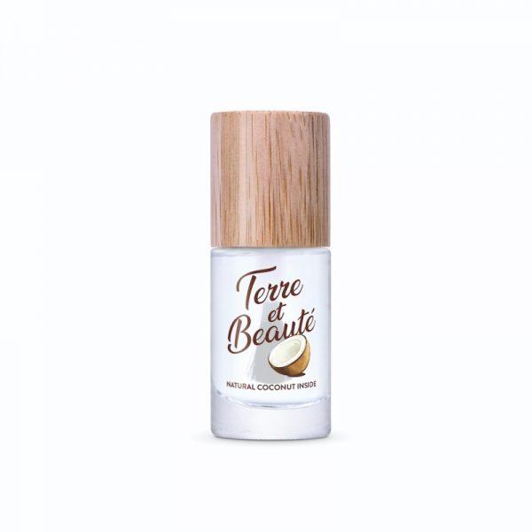 Der durchsichtige und schnell trocknende Nagellack von Terre et Beauté kann auch als Unter- oder Überlack verwendet werden