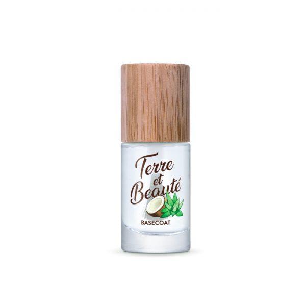 Der pflegender Basecoat mit Kokosnuss, Aloe Vera und Diestel-Öl von Terre et Beauté verlängert die Haltbarkeit deines Nagellackes