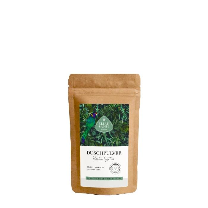 Das erfrischende Duschpulver mit Eukalyptus in der 10 Gramm Probepackung von Eliah Sahil im cosa Kosmetik Onlineshop