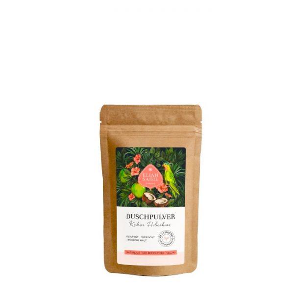 Das Duschpulver mit Kokos & Hibiskus in der 10 Gramm Probepackung eignet sich besonders für trockene Haut