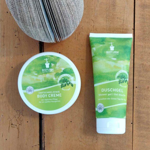 Naturkosmetik von Bioturm: Duschgel und Bodycreme mit Moringa-Duft bei cosa Kosmetik ohne Tierversuche