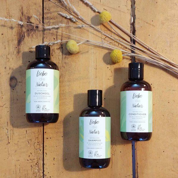 Natürliches Duschgel, Shampoo und Conditioner von Liebe die Natur aus dem Tirol bei cosa Kosmetik ohne Tierversuche